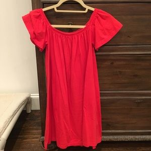 Asos Red off shoulder cotton dress